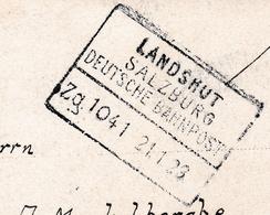 Postkart 1923 Deutsche Bahnpost Landshut Deutschland Bredene Belgique - Brieven En Documenten