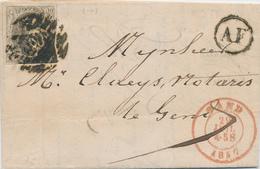 ZZ465 - Lettre TP Médaillon 10 C Barres GAND 1857 Vers GAND - Boite Rurale AF écrite à ZOMERGHEM - Landpost (Ruralpost)