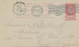 ZZ468 - BELGIQUE - Entier Postal Fine Barbe REPONSE NASHVILLE Tennessee ( USA) 1903 Vers GAND - Entiers Postaux