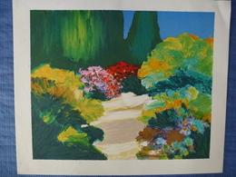 Lithographie Signée - Un Jardin - 55 X 46 Cm - Lithographies