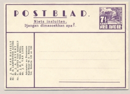 Nederlands Indië - 1937 - 7,5c Karbouwen, Postblad G3c Met Particuliere Bedrukking Advocaten Kantoor - Nederlands-Indië