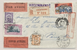 Indochine - 1930 - 4 Stamps On R-cover From HaiPhong - Par Malle Aerienne Hollandaise - To Paris / France - Brieven En Documenten