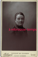 Très Beau Cliché Au Charbon-grand CDV-(CAB) Femme Couple 2 -photo Bellingard Lyon-bel état - Old (before 1900)