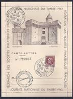 Carte Lettre Locale Journee Du Timbre 1943 Petain Perpignan - Francia