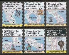 MARSHALL ISLANDS 1985 - Various MAPS Of The Islands - SALE! 6v Compl Mi 40A-45A MNH ** Cv€6,00 V312 - Marshall