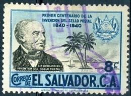 EL SALVADOR, COMMEMORATIVO, ROWLAND HILL, 1940, FRANCOBOLLI USATI,  Michel 575    Scott 586 - El Salvador