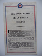 WWII WW2 Tract Flugblatt Propaganda Leaflet In French, PWE F Series/1942, F.8, AUX POPULATIONS DE LA FRANCE OCCUPÉE - Oude Documenten
