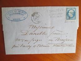 Lettre   Societe Leon St Aubin Fers Et Charbons Dieppe  , Timbre Napoleon Empire  14 ,  Cachet 1862 - 1862 Napoleon III