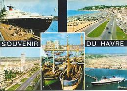 Souvenir Du Havre (76) - Multivues - Le Paquebot FRANCE à Quai, La Plage Vers Ste Adresse, Avenue Foch, Port De Pêche, - Le Havre