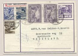 Nederlands Indië - 1948 - 5 Zegels Op Postblad G4 Met Deviezencensuur Soerabaja Van Soerabaja Naar Apeldoorn / NL - Netherlands Indies