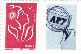 Lamouche N° 3744 A Rouge Sans Valeur Avec Vignette Personnalisée - France