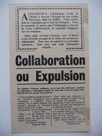 WWII WW2 Tract Flugblatt Propaganda Leaflet In French, PWE F Series/1942, F.22, COLLABORATION OU EXPULSION - Alte Papiere
