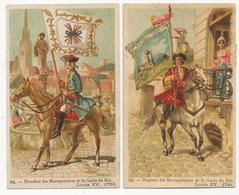 2 Chromos Drapeau Mousquetaires Louis XV Pub Chocolat Grande Trappe Orne Quina Thé Huile Olive - Regimenten