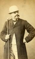France Paris Homme à Lunettes, Chapeau Et Canne Ancienne Photo CDV Lagriffe 1870' - Photographs