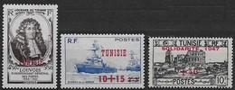 1946 / 1947  Tunisie  N° 311 312 313   Nf** . MNH . Louvois, .œuvres De La Marine, Solidarité 1947 - Ungebraucht