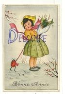Bonne Année. Petite Fille Dans La Neige, Bouquet De Houx, Coccinelle. Coloprint 3661 - Gougeon