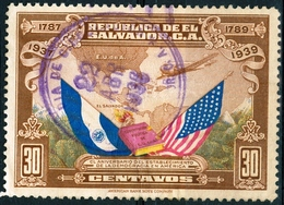 EL SALVADOR, COMMEMORATIVO, U.S. COSTITUZIONE, 1938, FRANCOBOLLI USATI,  Michel 555 - El Salvador