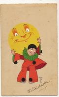 Carte Illustrée De Cuba Pierrot Portant La Lune Surrealisme - Carnaval