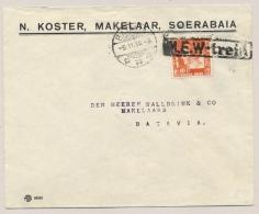 Nederlands Indië - 1938 - 10 Cent Kreisler Op Cover Van Soerabaja Via (Postagent) NEW-Trein Naar Batavia - Nederlands-Indië