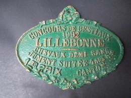 """Lillebonne - Plaque Concours Agricole """" 1er Prix Jument Suitée """" 1992 """" Canton De Lillebonne - Plaques Publicitaires"""