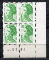 6706  FRANCE  N°2318 **  1f70 Vert  Liberté   Du  1.8.84    TTB - Coins Datés