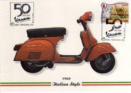 Italia 2018 50° Anniversario VESPA Primavera Annullo Pontedera Cartolina - Moto