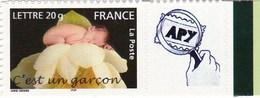 """Message """" Naissance C'esr Un Garçon """" N°3805 B Avec Vignette Personnalisée - France"""