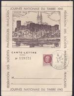 Carte Lettre Locale Journee Du Timbre 1943 Petain Angers - France