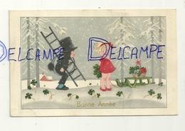 Bonne Année. Petite Fille Et Petit Ramoneur Dans La Neige. Luge, Trèfles. 1941 - Anno Nuovo