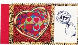 """Saint Valentin Coeur,"""" Lettre 20 Grammes"""" N°3863 A Avec Vignette Personnalisée - France"""