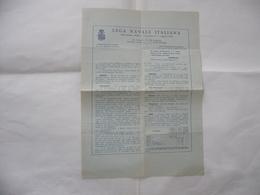 DEPLIANT OPUSCOLO VOLANTINO LEGA NAVALE ITALIANA. - Documents Historiques