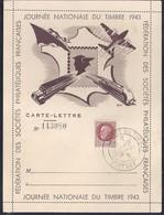 Carte Lettre Federale Journee Du Timbre 1943 Petain Auxerre - France