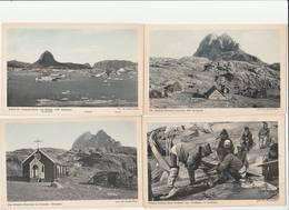 4 CPA:GROENLAND FRAUEN WEIDEN EINEN SEEHUND AUS.GODTHAAB,S GRÖNLAND,KOLONIE UMANAK,KIRCHLEIN,UMANAK FJORD - Groenlandia