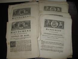 LOT DE 42 MANDEMENTS EVEQUES BLOIS & ORLEANS 1757- 1856 SACRE PAPE DUC DE BERRY LOUIS XV CONCORDAT ASSASSINAT - Décrets & Lois