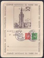 Carte Lettre Locale Journee Du Timbre 1943  Petain Bethune - France