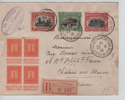 TP 108(4)-142-143-144 S/L.Recommandée C.Ste.Adresse Poste Belge 25/10/1915 V.Châlons - Guerre 14-18