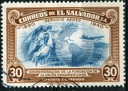 EL SALVADOR, POSTA AEREA, AIRMAIL, COMMEMORATIVO, UNIONE PANAMERICANA, 1940, FRANCOBOLLI USATI,  Michel 578   Scott C71 - El Salvador