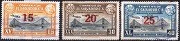 EL SALVADOR, POSTA AEREA, AIRMAIL, COMMEMORATIVO, EXPO, 1943, FRANCOBOLLI USATI,  Michel 595,596I,598I   Scott C89-C91 - El Salvador