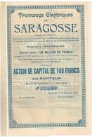 Action Uncirculed- Tramways Electriques De Saragosse - Titre De 1908 - - Chemin De Fer & Tramway