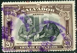 EL SALVADOR, POSTA AEREA, AIRMAIL, COMMEMORATIVO, ROOSEVELT, 1948, FRANCOBOLLI USATI,  Scott C113 - El Salvador