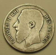 1868 - Belgique - Belgium - 2 FRANCS, LEOPOLD II , Argent, Silver, Type Wiener, Légende Française, KM 30.2 - 1865-1909: Leopold II