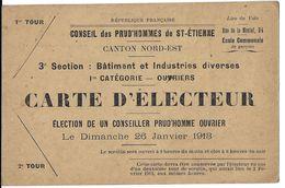 CARTE ELECTEUR  VILLE SAINT ETIENNE 42 LOIRE  ELECTION CONSEIL DES PRUD'HOMMES 26/01/1913 CATEGORIE OUVRIERS - Historical Documents