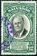 EL SALVADOR, POSTA AEREA, AIRMAIL, COMMEMORATIVO, ROOSEVELT, 1948, FRANCOBOLLI USATI,  Scott C111 - El Salvador
