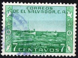 EL SALVADOR, INDUSTRIA, PESCA, 1954, FRANCOBOLLI USATI,  Michel 735   Scott 664 - El Salvador