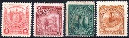 EL SALVADOR, SOGGETTI VARI, 1896-1897, FRANCOBOLLI NUOVI (MLH*),  Scott 136,148,157C,159 - El Salvador