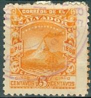 EL SALVADOR, PAESAGGI, LANDSCAPES, UPU, 1897, FRANCOBOLLI USATI,  Michel 157X…Scott 162 - El Salvador