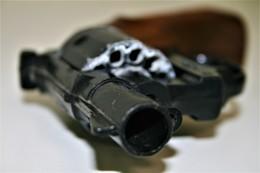 Vintage TOY GUN : KAT80181-1 By Edison Giocattoli - L=16cm - 19??s - Keywords : Cap Gun - Cork - Revolver - Pistol - Armes Neutralisées