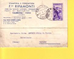 ITALIA - REPUBBLICA - STAMPERIA E FORGIATURA F.LLI RIPAMONTI  VALBRONA VISINO COMO - VIAGGIATA  1953 PER  PAULARO (UD) - 1946-.. République