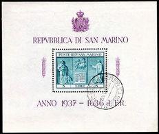 San Marino 1937 Independence Monument Souvenir Sheet Fine Used. - San Marino
