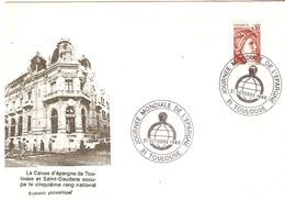 France 1980 - Journée Mondiale De L'épargne - Toulouse - Saint-Gaudens - Marcophilie - Sabine De Gandon 1965 - 2 Scans - Covers & Documents